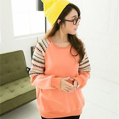 De las mujeres de cuello redondo patrones geométricos informal suéter de manga larga – USD $ 13.19