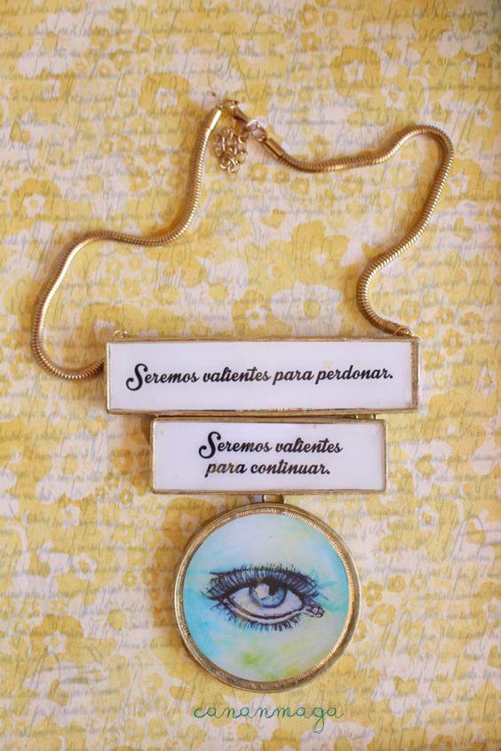 Camafeo personalizado Custome jewelry Perdonar. Texto: Cananmaga ilustración: Sofía Castellanos Hecho a Mano #Jewelry #joyería #eyes #illustrations #goodintentions #hechoamano