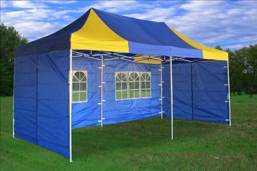 10x20 Pop Up 6 Walls Canopy Party Tent Gazebo Ez Blue Yellow E Model By Delta Canopies Be Sure To Check Out This Awesome Gazebo Party Tent Backyard Gazebo