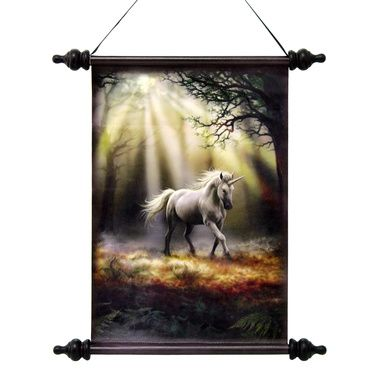 Glimpse of a Mystic Unicorn Canvas Wall Scroll Tapestry