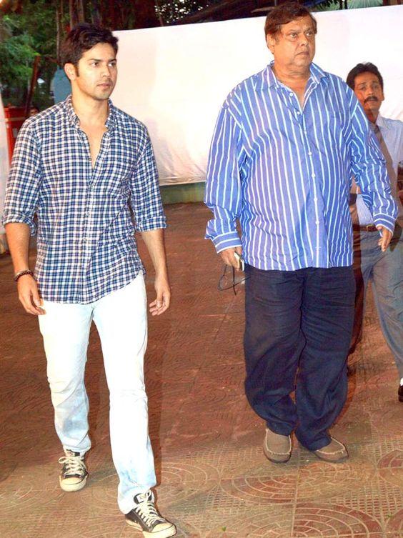Varun Dhawan with his father David Dhawan at prayer meet of Sajid Wajid's father. #Bollywood