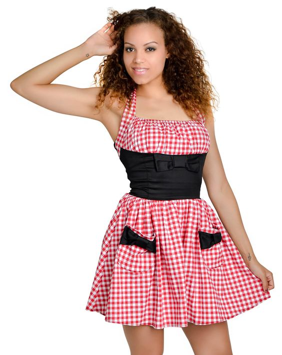 Halter Gingham Dress Red and White