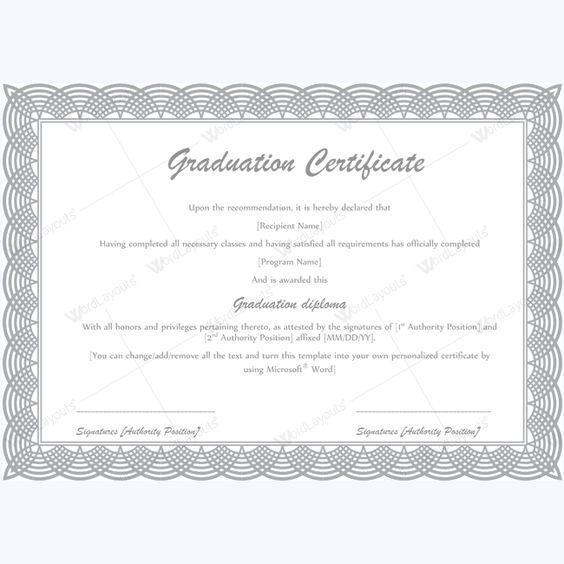 Certificate For Graduation Graduation Certificate