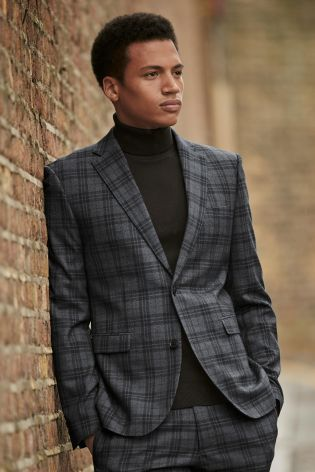 Grey Black Check Skinny Fit Suit: Jacket from Next | The Modern