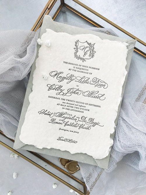 Black and White Elegant Swirls Invite Classic Customization Options Available Deposit for Formal Letterpress Wedding Invitation