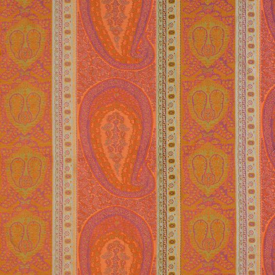ANICHINI Fabrics | Taj Coral/Fuchsia Residential Fabric - an orange paisley jacquard fabric