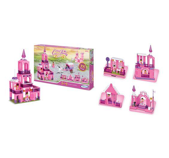 0588.7 - Reino Cor de Rosa Castelo da Princesa | 5 em 1. Contém 305 peças. | Faixa Etária: +6 anos | Medidas: 48 x 29 x 6,5 cm | Jogos e Brinquedos | Xalingo Brinquedos | Crianças