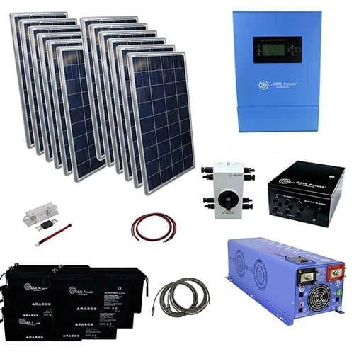 3300 Watt Solar With 6000 Watt Pure Sine Power Inverter Charger 48vdc 120 Vac Off Grid Kit In 2020 Solar Kit Off Grid Solar Solar
