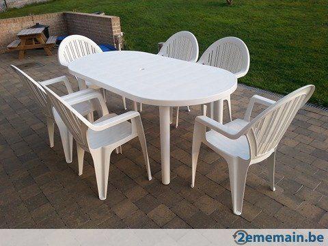 Table de jardin en plastique blanc (180cmx90cm) + 6 chaises ...