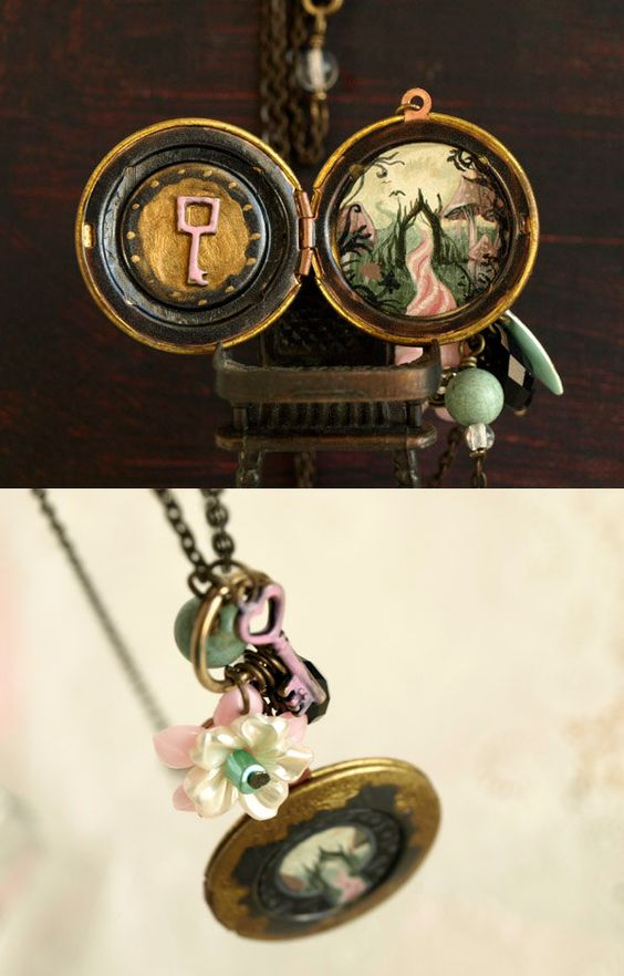 Alice in Wonderland locket necklace with vintage by KarolinFelix. €104,00, via Etsy.