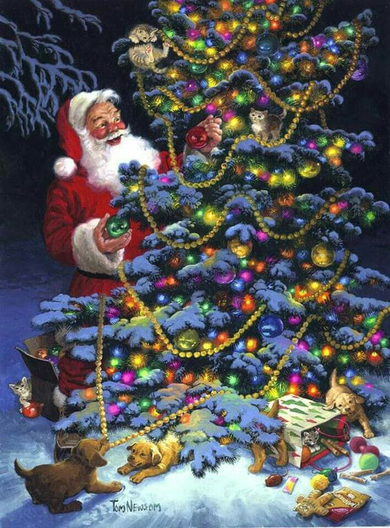 Santa decorating a Christmas Tree with a lil help