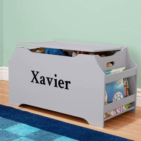 Personalized Dibsies Kids Toy Box With Book Storage Gray For Boys Kids Toy Boxes Personalized Toys Personalised Toy Box