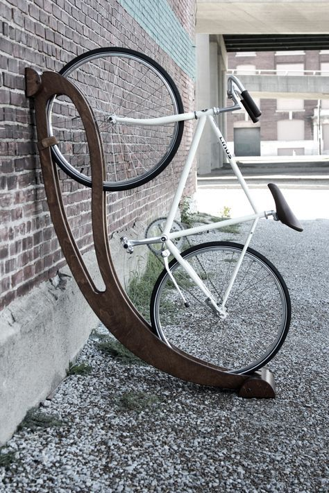 Peri bike rack in light or dark wood