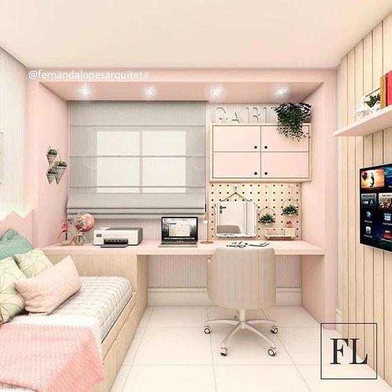 Quarto de menina, delicado, leve e funcional 😍💗 Um amor, não acham? || #bedroom #interiordesigns #homedecor #kidsbedroom