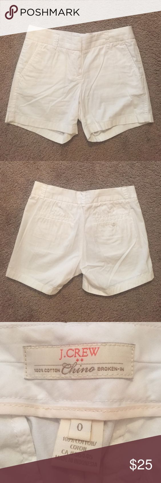 J. Crew white shorts These white j crew shorts are adorable! Good used condition-- they've only been worn 2-3 times. So comfortable and classy. Im pretty sure these are the 5'' chino shorts but they measure 12 and a quarter inches from the top of the waist to the bottom of the shorts. Let me know if you have any questions! J. Crew Shorts