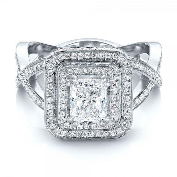 Custom Double Halo Diamond Engagement Ring