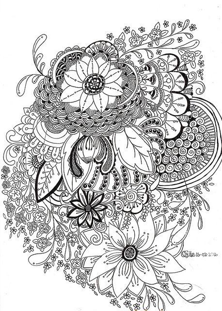 Floral Doodle Line Art | by Qski McGrewski