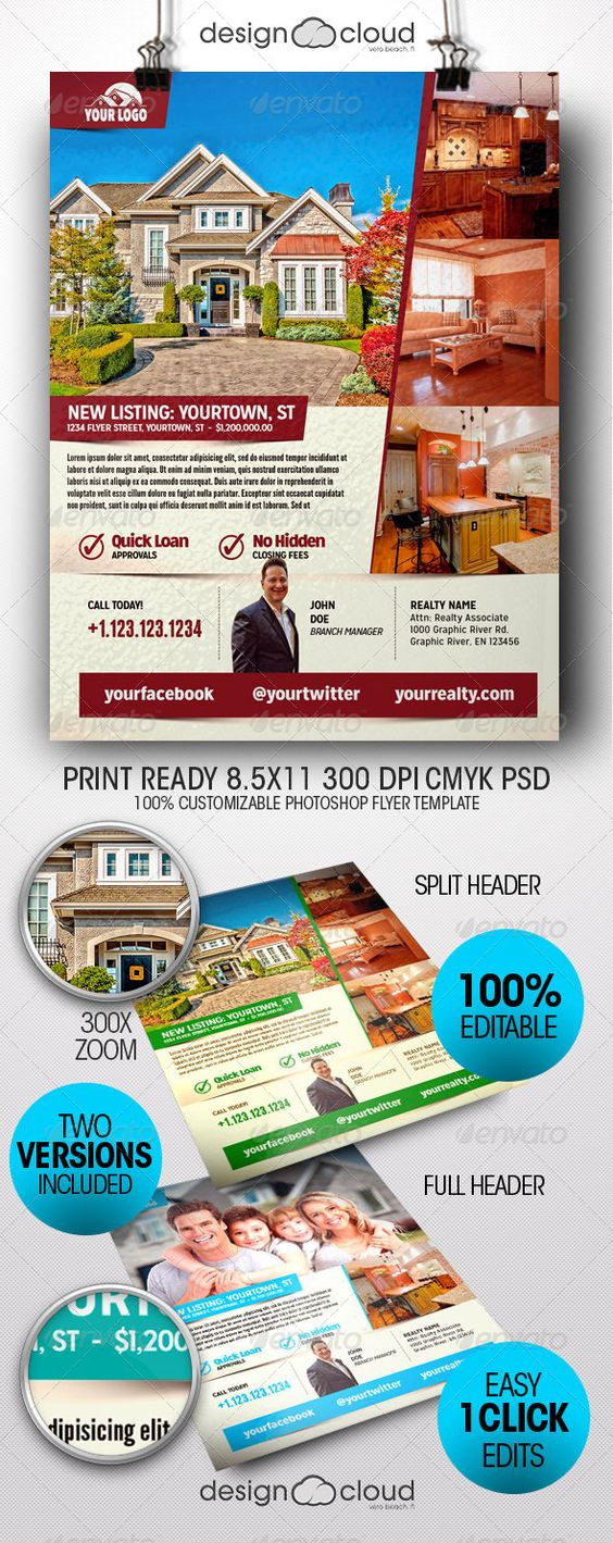 Realtor, Real Estate Flyer Templates | The flyer, Flyer template ...
