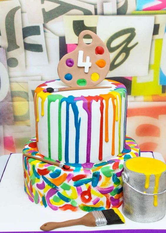 Fantastic cake at an art birthday party! See more party ideas at CatchMyParty.com!