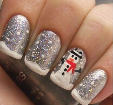 Christmas Nails Art - Silver Sparkle - Click pic for 25 Christmas Holiday Crafts DIY #xmas_present #xmas_gifts