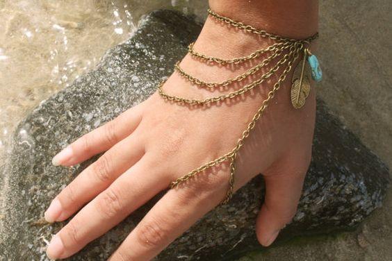 Slave Bracelet Hand Bracelet Piece Hipster Bronze by FunnyPeopleCo, $16.00