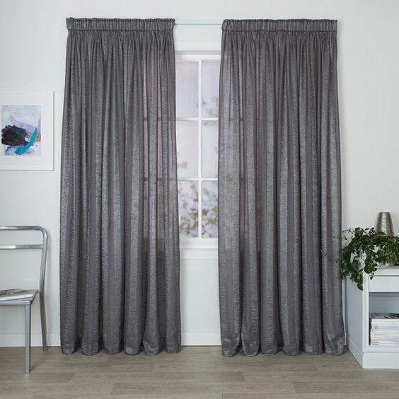 Serene Silver - Readymade Sheer Pencil Pleat Curtain - Curtain Studio buy curtains online