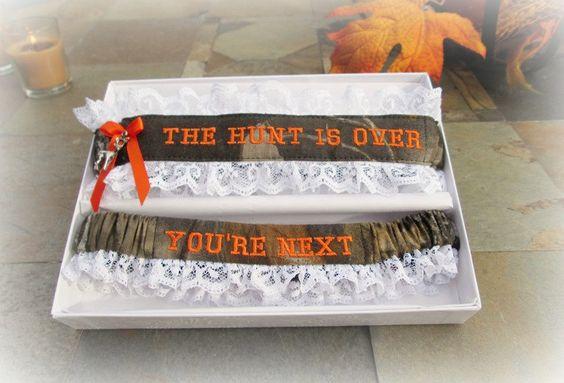 Camo Wedding Garter Set- Camouflage Wedding Garters - Hunting Wedding Garter set - The Hunt is over Garter set. (39.99 USD) by CreativeGarters