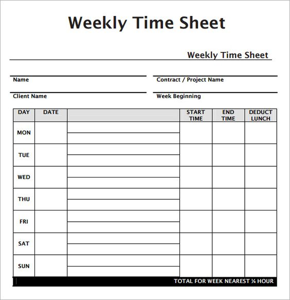 Weekly Employee Timesheet Template construction forms Pinterest