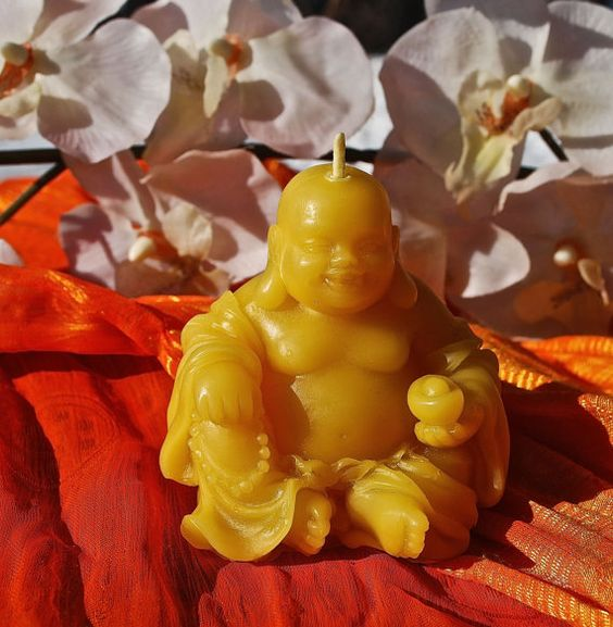 Beautiful Laughing Buddah Pure Beeswax Candle by BurnstownBees, $9.00