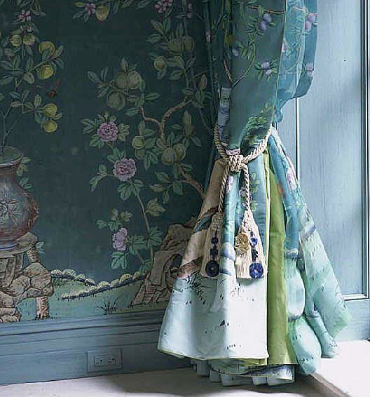 Curtains Ideas chinoiserie curtains : Beautiful De Gournay hand painted Chinoiserie silk wallpaper ...