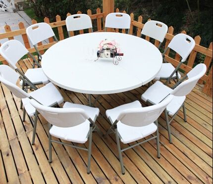 Hdpe Plastic Folding Dining Table Round, Outdoor Foldable Round Dining Table