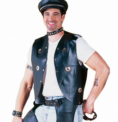 Men's Halloween Biker Halloween Vest - This faux leather vest with it's silver conchos is just perfect for the hell raiser in you this Halloween. The vest is made of a black faux leather and features silver conchos on the front and back, as well as silver studs and buckles. A great costume piece for a biker or Village People themed Halloween costume. #yyc #biker #costume