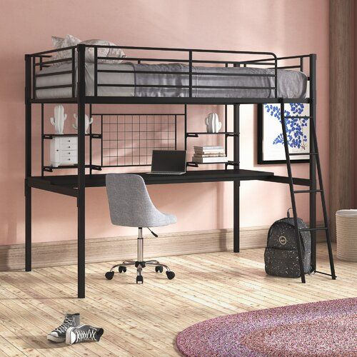 Harriet Bee Ernestine Single High Sleeper Loft Bed With Desk