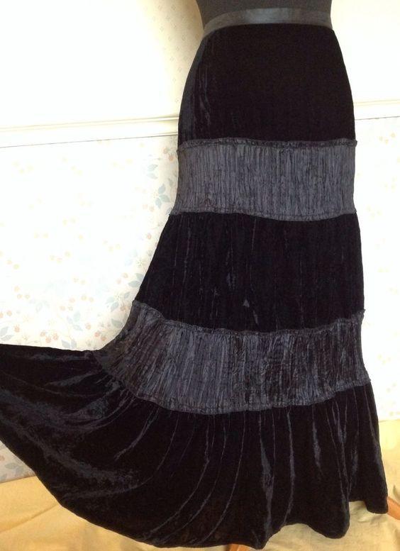 24 26 Black Velvet Taffeta Tiered Long Maxi Skirt Gothic Steampunk Christmas Vtg £25.01