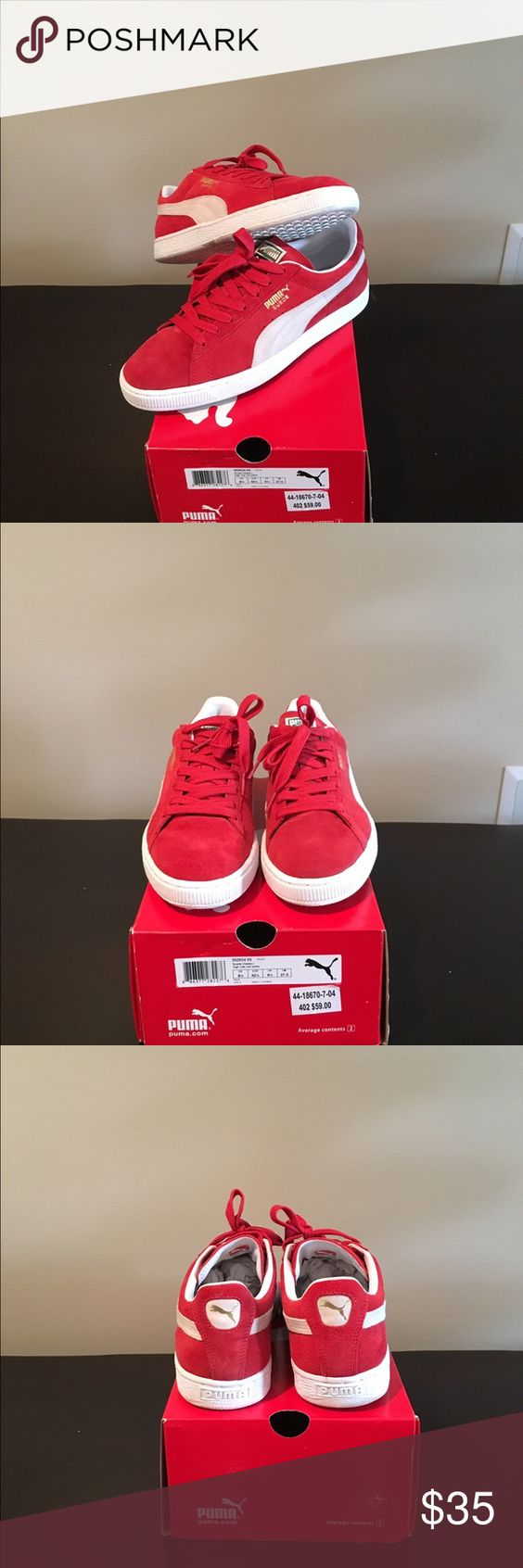 Men's PUMA Suede Classic Shoes - Brand New!! Men's PUMA Suede Classic Shoes - Brand New!! Color: Risk Red/ White Puma Shoes Sneakers