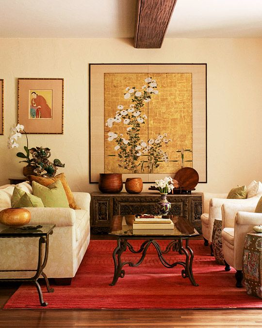 Asian Design Living Room Alluring I Love How The Bouquet And Orchid Echo The One On The Wall Screen Design Ideas