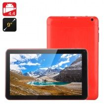Quad Core Android 4.4 Tablet 'Iota' - 9 Inch Display, A33 A9 CPU, Mali-400 GPU, 8GB Internal Memory, Micro SD Card Slot (Red)