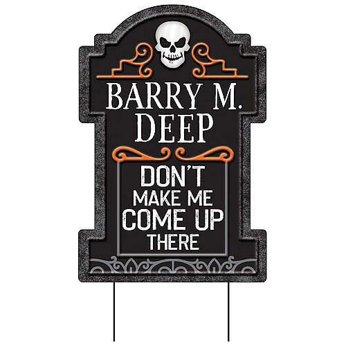 Barrys Halloween Party 2020 Barry M. Deep Tombstone Yard Sign, 14 3/4in x 1 3/4ft in 2020