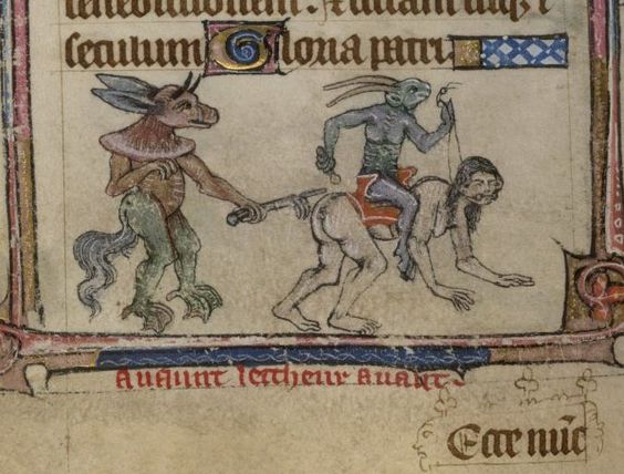 Algunas pequeñas bestias son verdaderamente demoniacas. Libro de Horas. Inglaterra, siglo XIV. BL, Yates Thompson 13, fol. 141v