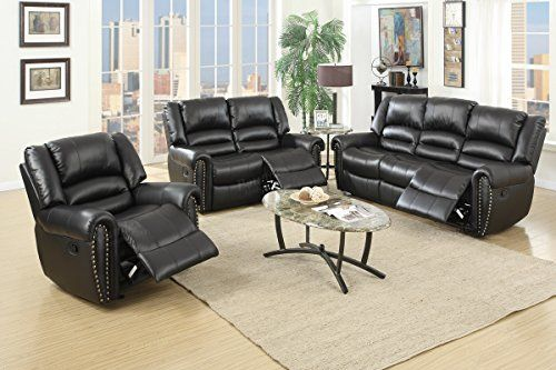 3Pcs Modern Black Bonded Leather Motion Reclining Sofa Loveseat Glider Recliner Chair Set for Living Room