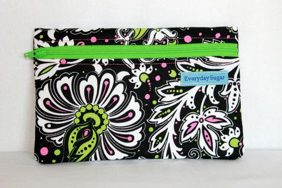 Black Pink Green Abstract Flowers Zipper Pouch  by SeaShellee, $8.00