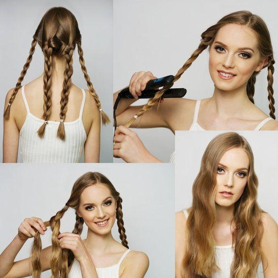 Haare flechten, Zöpfe mit dem Glätteisen drücken und schöne Wellen kreieren