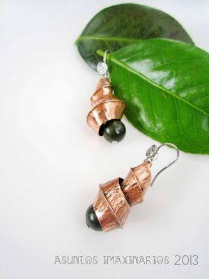 Asuntos imaxinarios Jewelry. Copper ans stainless steel. Brincos, cobre e aceiro. Foldforming.