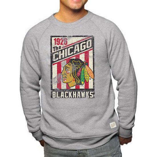 Chicago blackhawks 1926 crewneck fleece tri blend for Vintage blackhawks t shirt