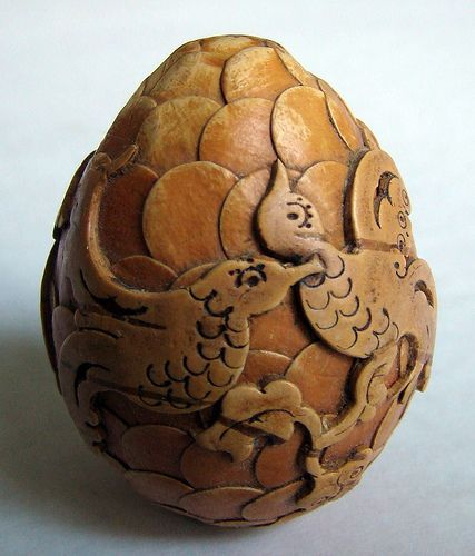 Carved wooden egg chip carving wood russian