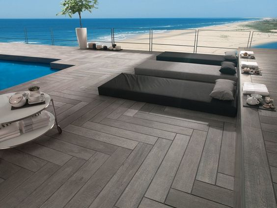 pose en chevron du carrelage imitation bois sur la terrase carrelage parquet pinterest. Black Bedroom Furniture Sets. Home Design Ideas