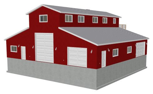 G468 60 x 60 14 39 monitor barn style garage with apartment for Small monitor barn