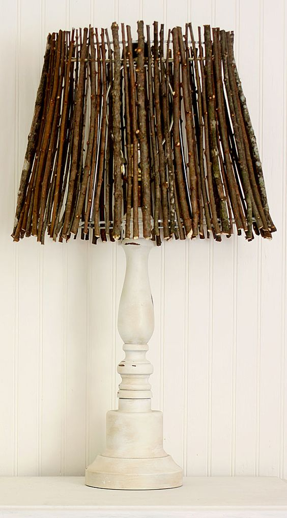 Twig Lamp Shade - made from an old wire shade and natural twigs: