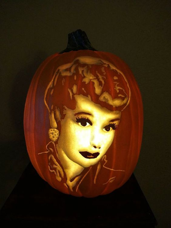 I love lucy hand carve foam pumpkin by