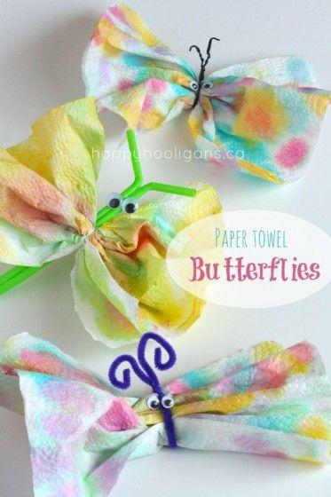 paper towel butterflies - 3 versions *(happyhooligans) #springcrafts